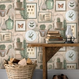 Rasch Curiosity Bird Butterfly Pattern Wallpaper Feather Botanical Egg Motif 278101