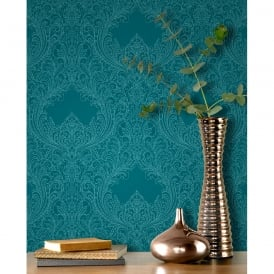 Rasch Damask Pattern Wallpaper Floral Leaf Motif Embossed Metallic Glitter 308518