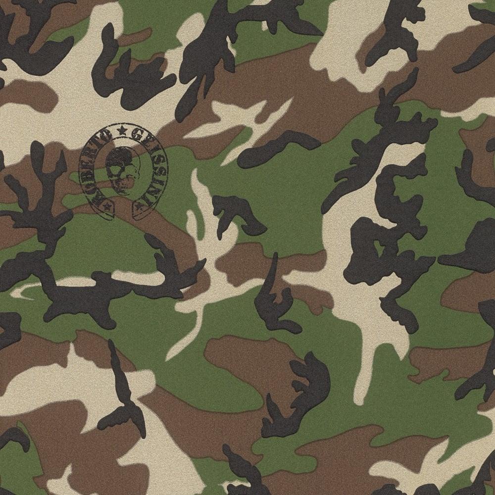 rasch designer camouflage pattern wallpaper military army metallic motif