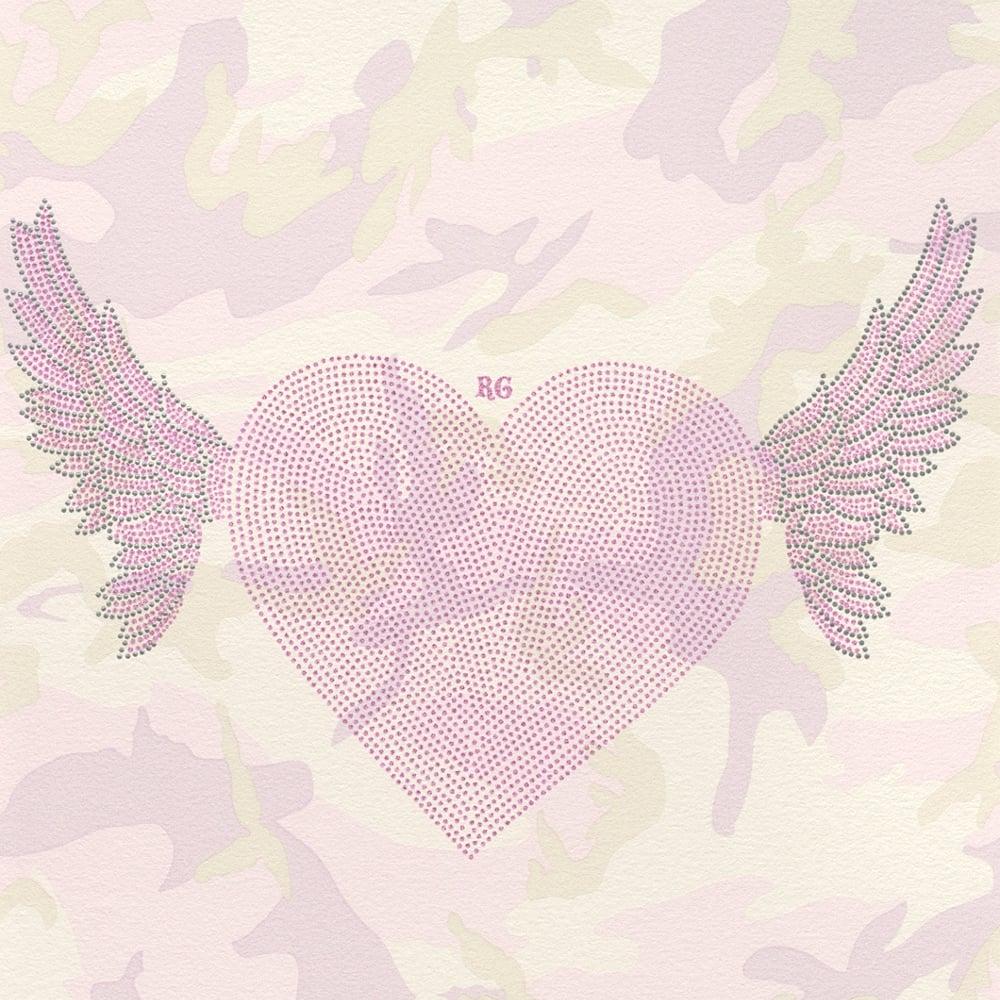 Rasch Designer Winged Heart Pattern Wallpaper Camouflage Motif Glitter 492576