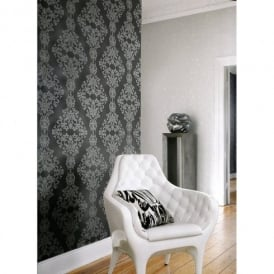 Rasch Diamond Dust Damask Motif Embossed Pattern Silver Black Wallpaper 450439