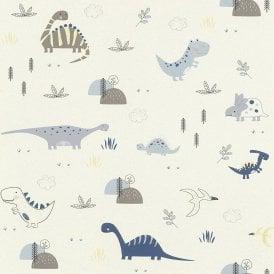 Childrens Dinosaur Wallpaper Animal Print White Black Green Textured Bedroom