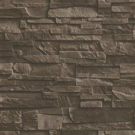 Rasch Factory Slate Brick Pattern Stone Faux Effect Textured Mural Wallpaper 475012