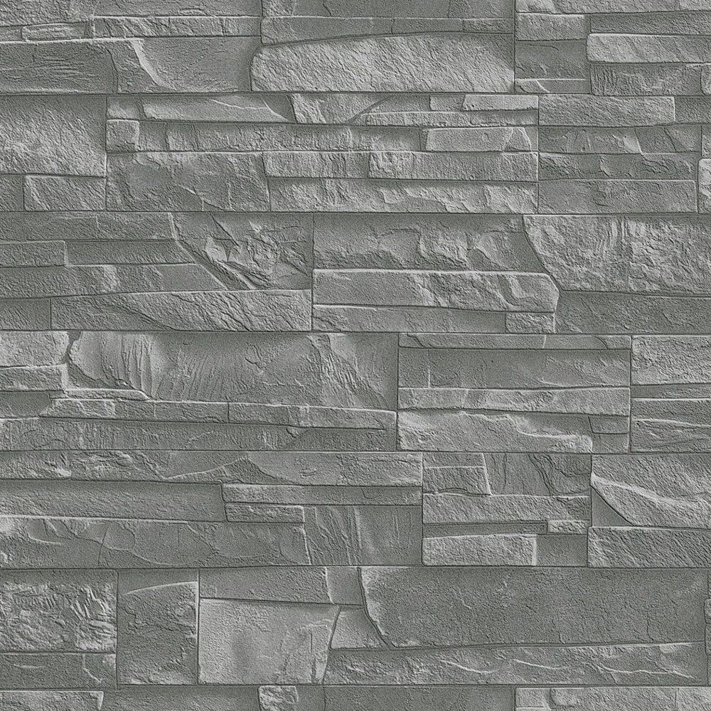rasch factory slate brick pattern stone faux effect textured mural wallpaper 475029 grey i. Black Bedroom Furniture Sets. Home Design Ideas