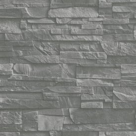 Rasch Factory Slate Brick Pattern Stone Faux Effect Textured Mural Wallpaper 475029
