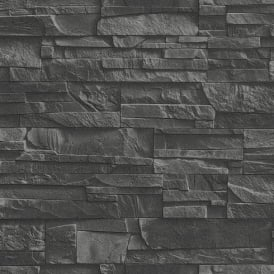 Rasch Factory Slate Brick Pattern Stone Faux Effect Textured Mural Wallpaper 475036