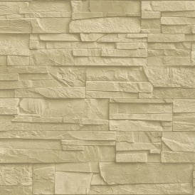 Rasch Factory Slate Brick Pattern Stone Faux Effect Textured Mural Wallpaper 475043
