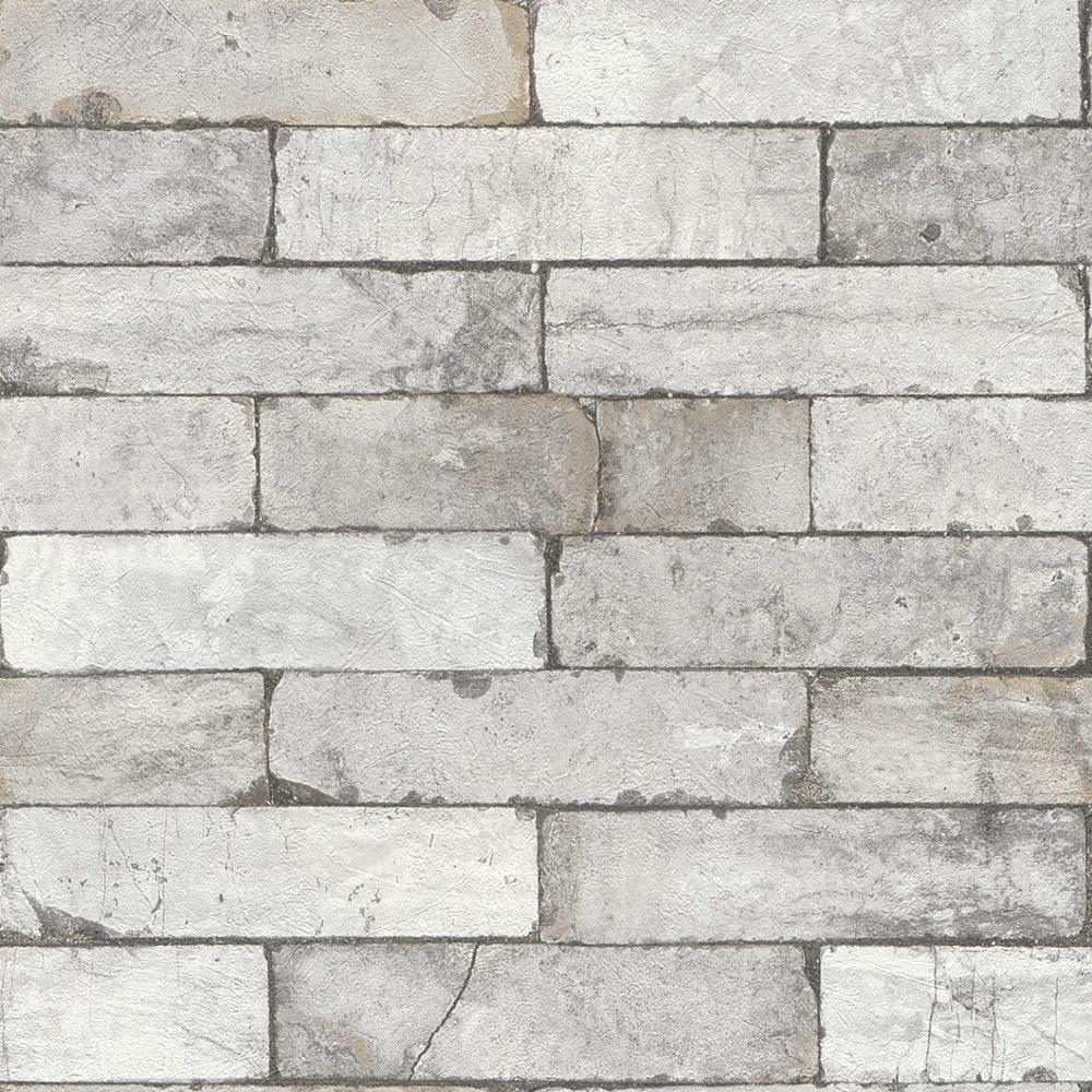 Rasch Factory Stone Pattern Brick Wall Faux Effect Textured Mural Wallpaper 446302 Light Grey I Want Wallpaper