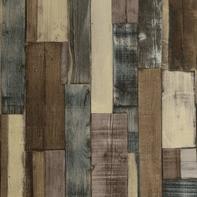 Rasch Factory Wooden Panel Beam Pattern Faux Effect Textured Wallpaper 446760