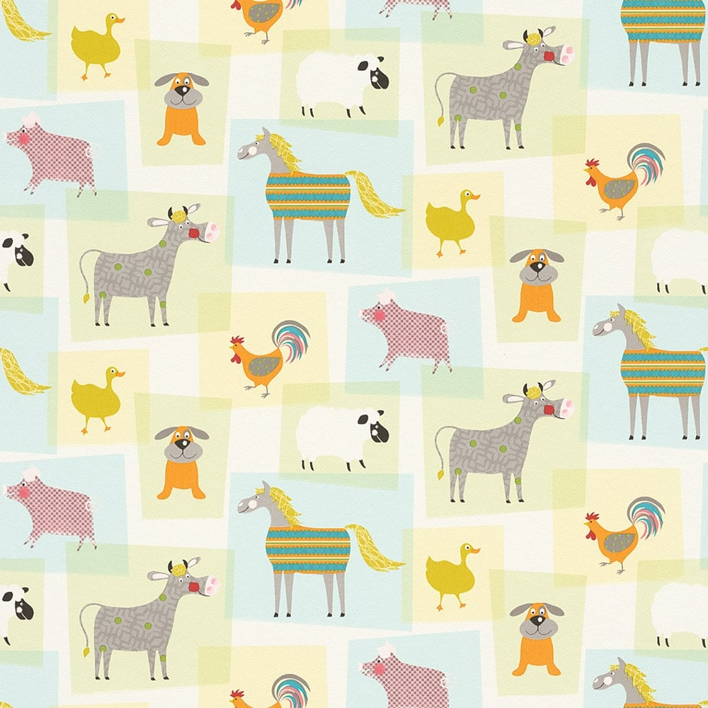 Rasch Farmyard Animals Pattern Childrens Wallpaper Horse Dog Cow Sheep Collage 247015
