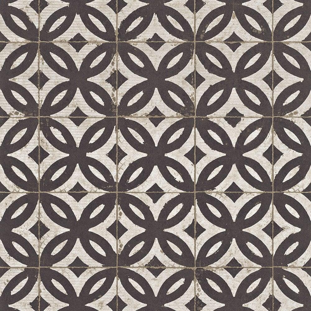 Rasch Faux Effect Tile Pattern Wallpaper Realistic Vintage