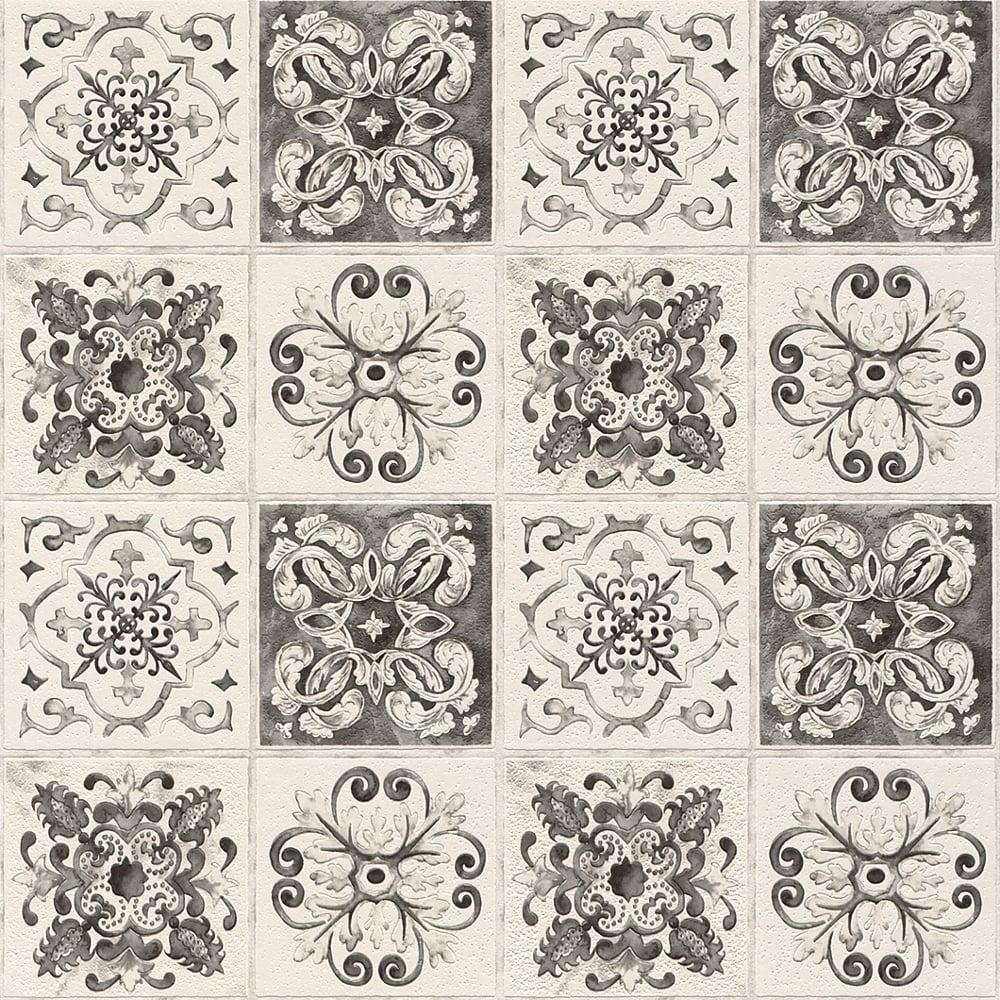 rasch rasch floral tile pattern black white wallpaper kitchen bathroom leaf motif embossed