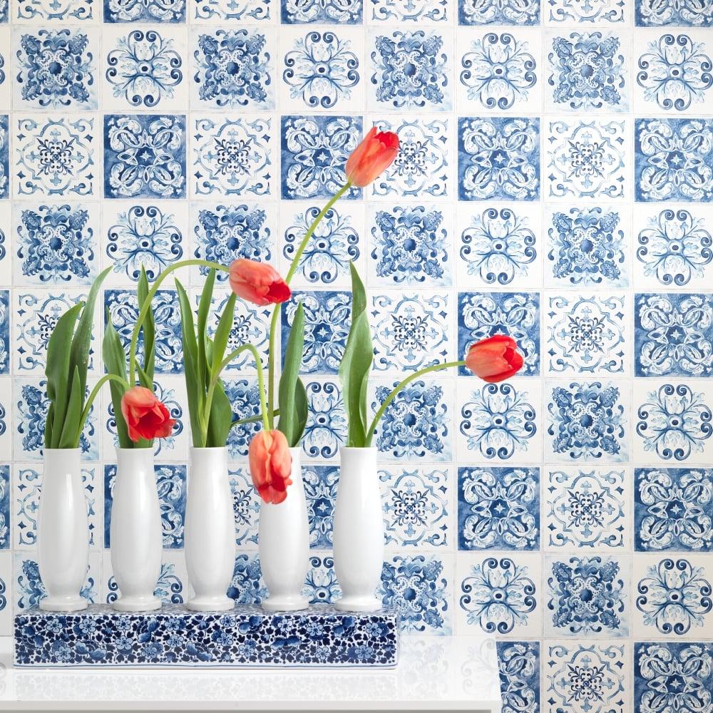 Rasch Floral Tile Pattern Wallpaper Kitchen Bathroom Leaf Motif Embossed 885309