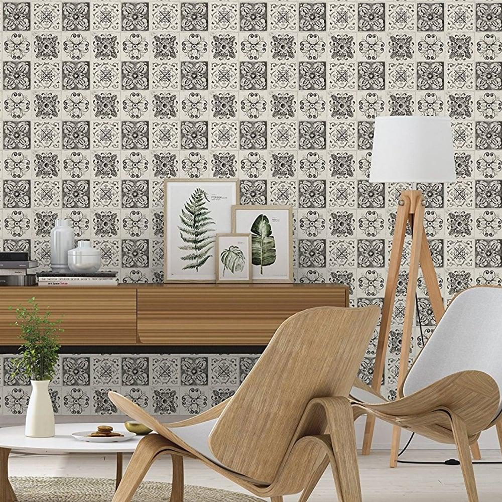 Charmant Rasch Floral Tile Pattern Wallpaper Kitchen Bathroom Leaf Motif Embossed  885316