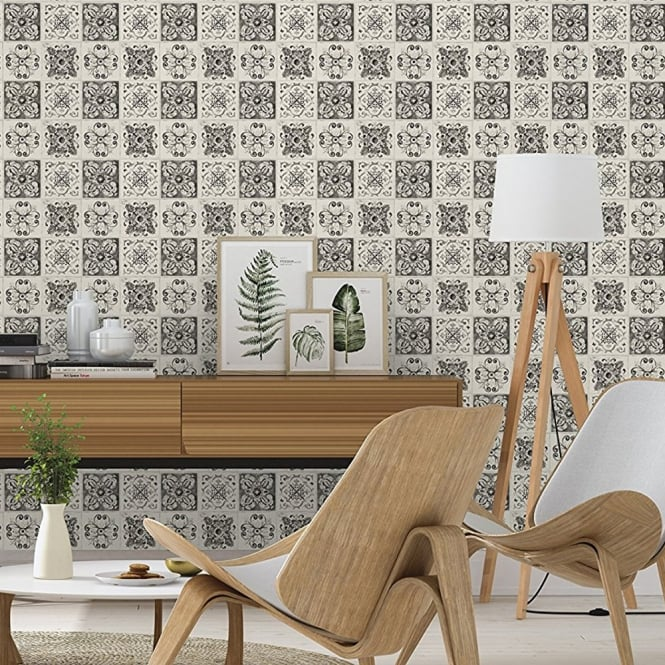 tile effect kitchen wallpaper rasch floral tile pattern wallpaper kitchen bathroom leaf 6134