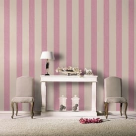 Rasch Florentine Fabric Stripe Pattern Lilac Beige Textured Wallpaper 448740