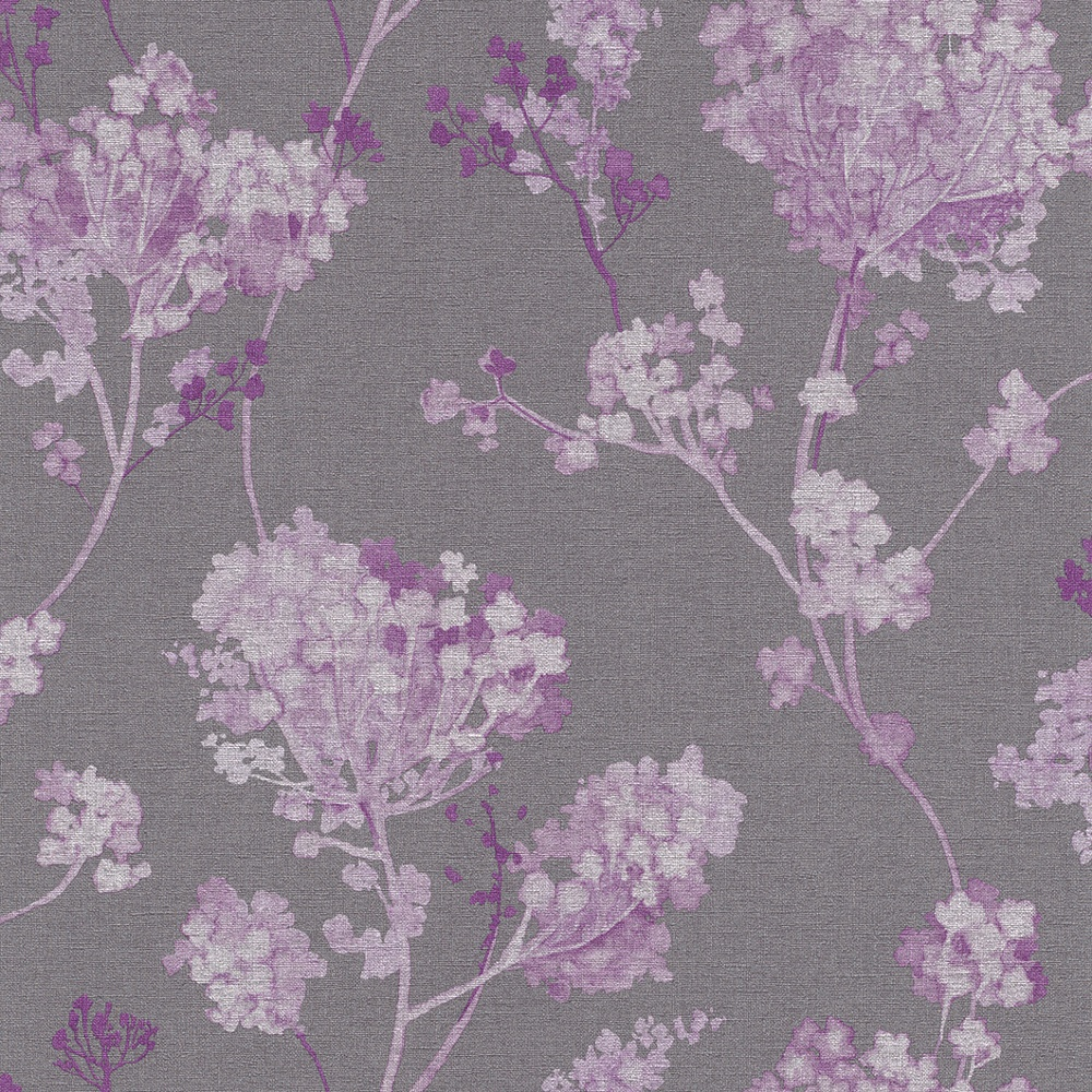 Rasch florentine floral motif flower pattern traditional for Purple and grey wallpaper