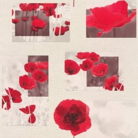 Rasch Flower Pattern Floral Poppy Motif Photo Embossed Vinyl Wallpaper 853308