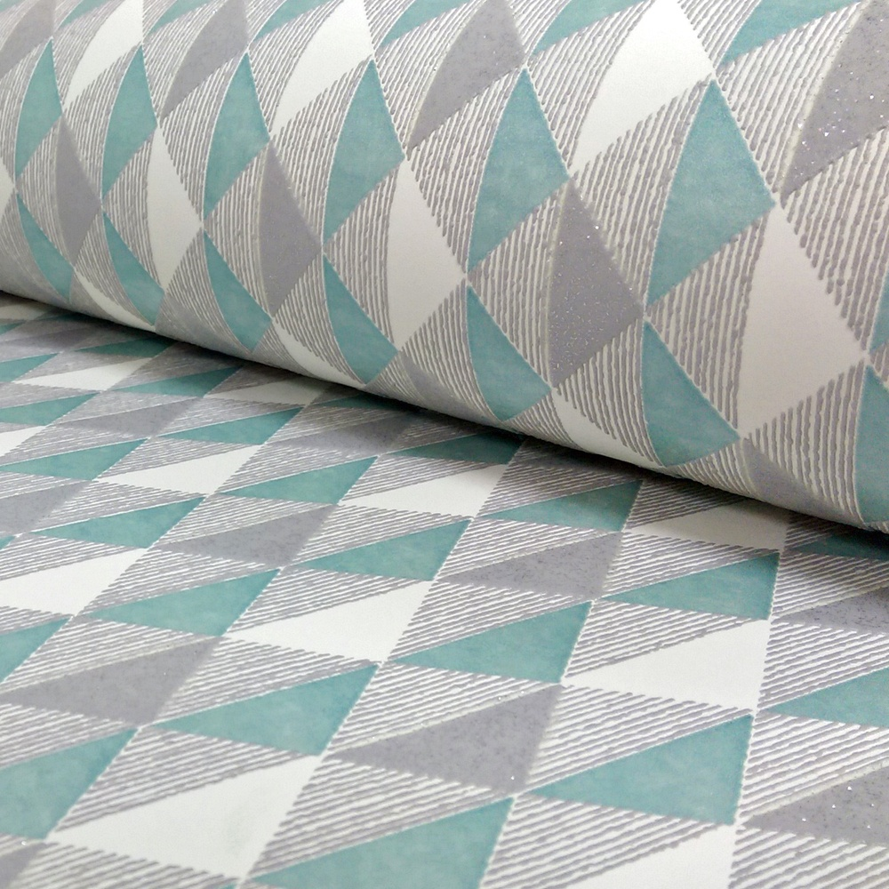 Rasch harlequin triangle stripe pattern kitchen bathroom for Teal wallpaper