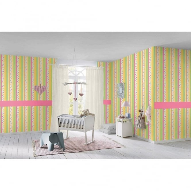 Rasch Hearts Flowers Striped Pattern Childrens Kids Embossed Wallpaper 459302