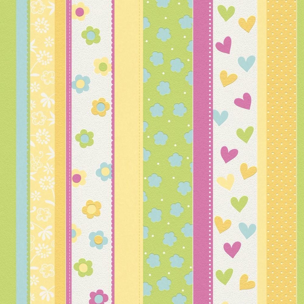 Rasch Hearts Flowers Striped Pattern Childrens Kids Embossed Wallpaper 459302