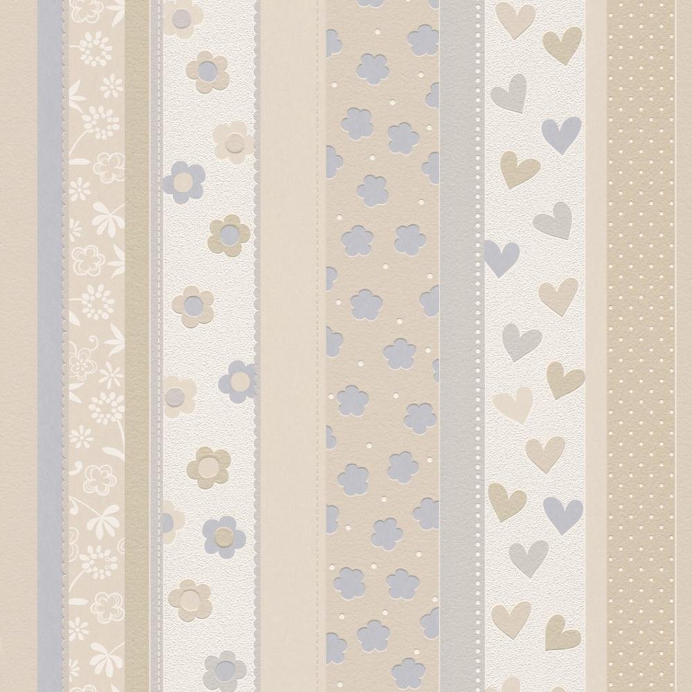 Rasch Hearts Flowers Striped Pattern Childrens Kids Embossed Wallpaper 459319