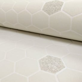 Rasch Honeycomb Hexagon Pattern Glitter Kitchen Bathroom Vinyl Wallpaper 861921