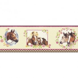 Rasch Horse Pony Pattern Polka Dot Floral Girls Childrens Wallpaper Border 290806