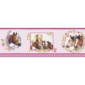 Rasch Horse Pony Pattern Polka Dot Floral Girls Childrens Wallpaper Border 290813