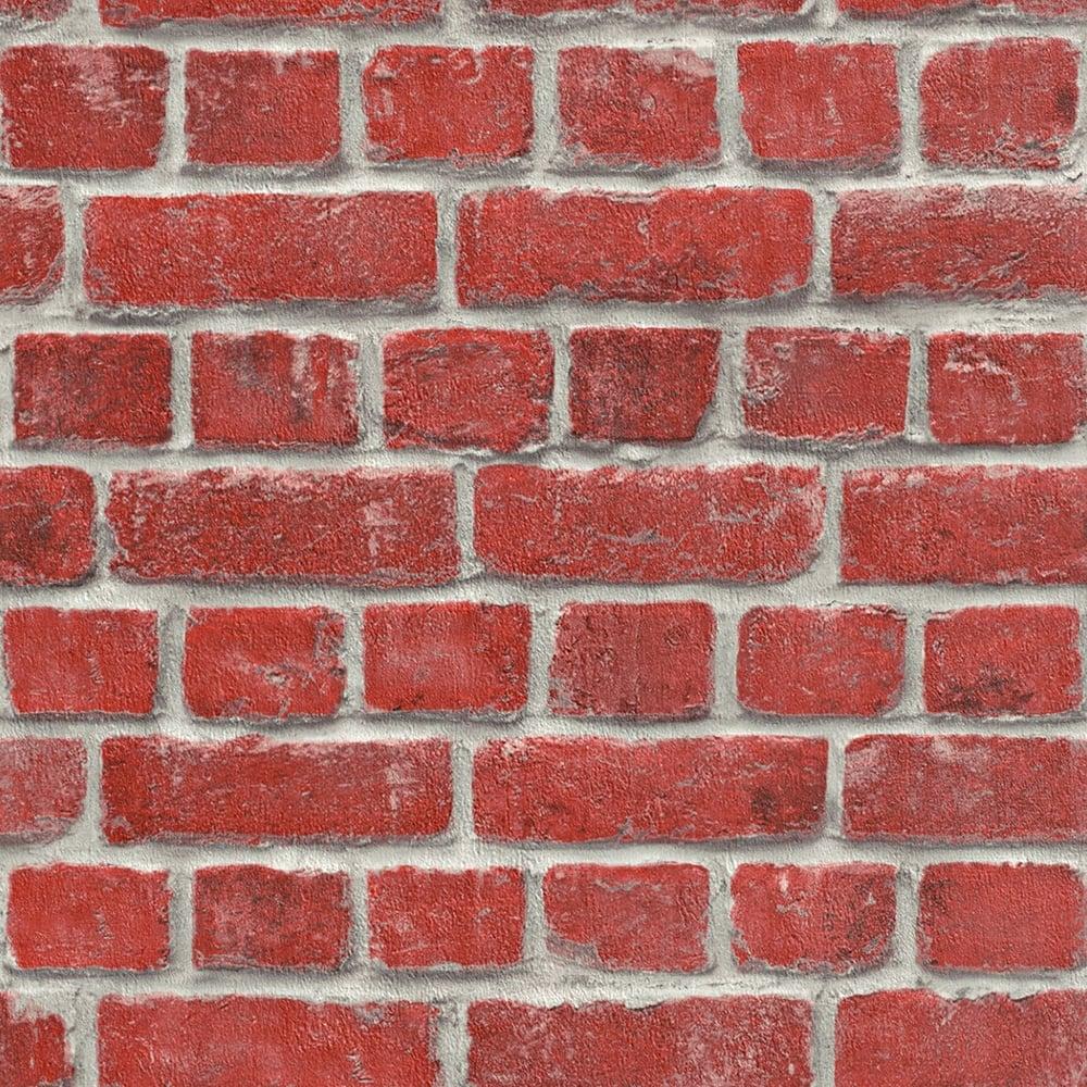 Rasch House Brick Pattern Wallpaper Faux Effect Realistic Stone