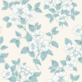 Rasch Jardin Floral Leaf Pattern Silver Teal Flower Motif Textured Wallpaper 204544