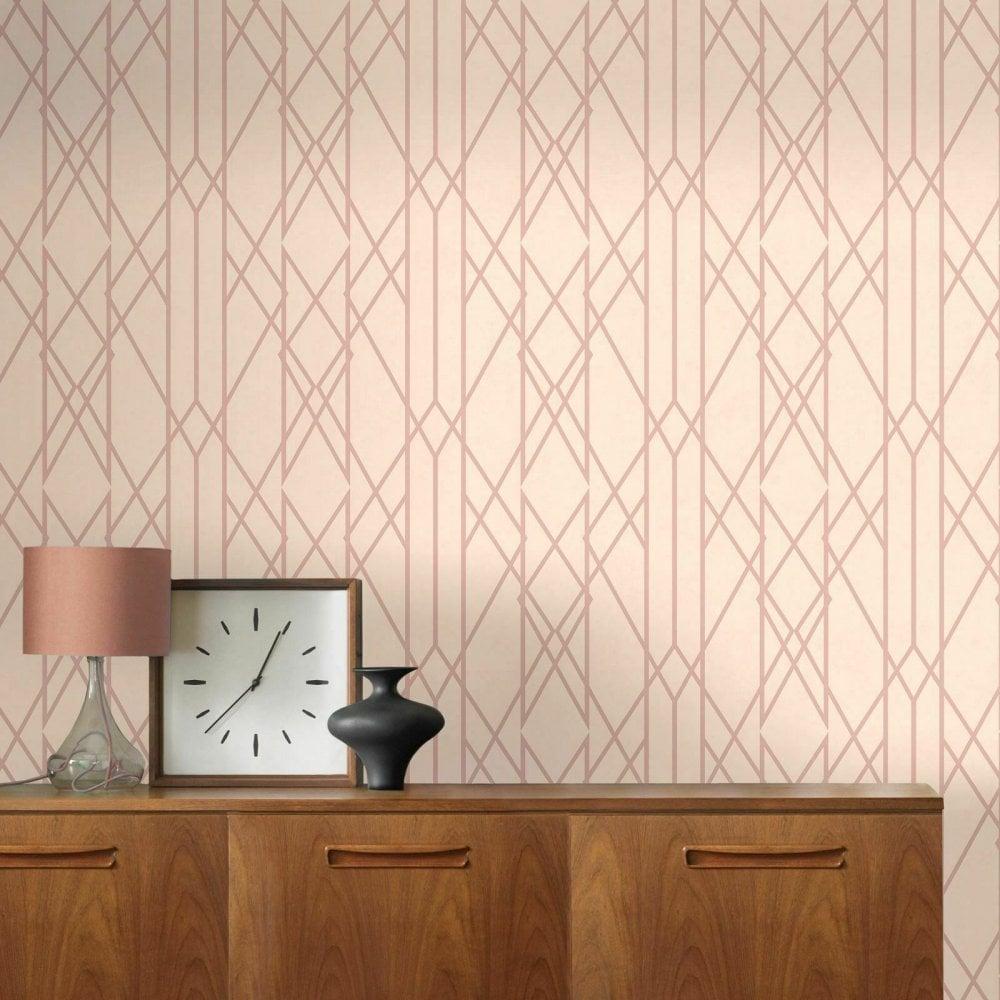 Lattice Geometric Wallpaper Teal Gold Metallic Shimmer Stripes Lines Rasch