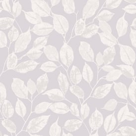 Rasch Leaf Pattern Wallpaper Modern Metallic Silver Leaves Motif 200423
