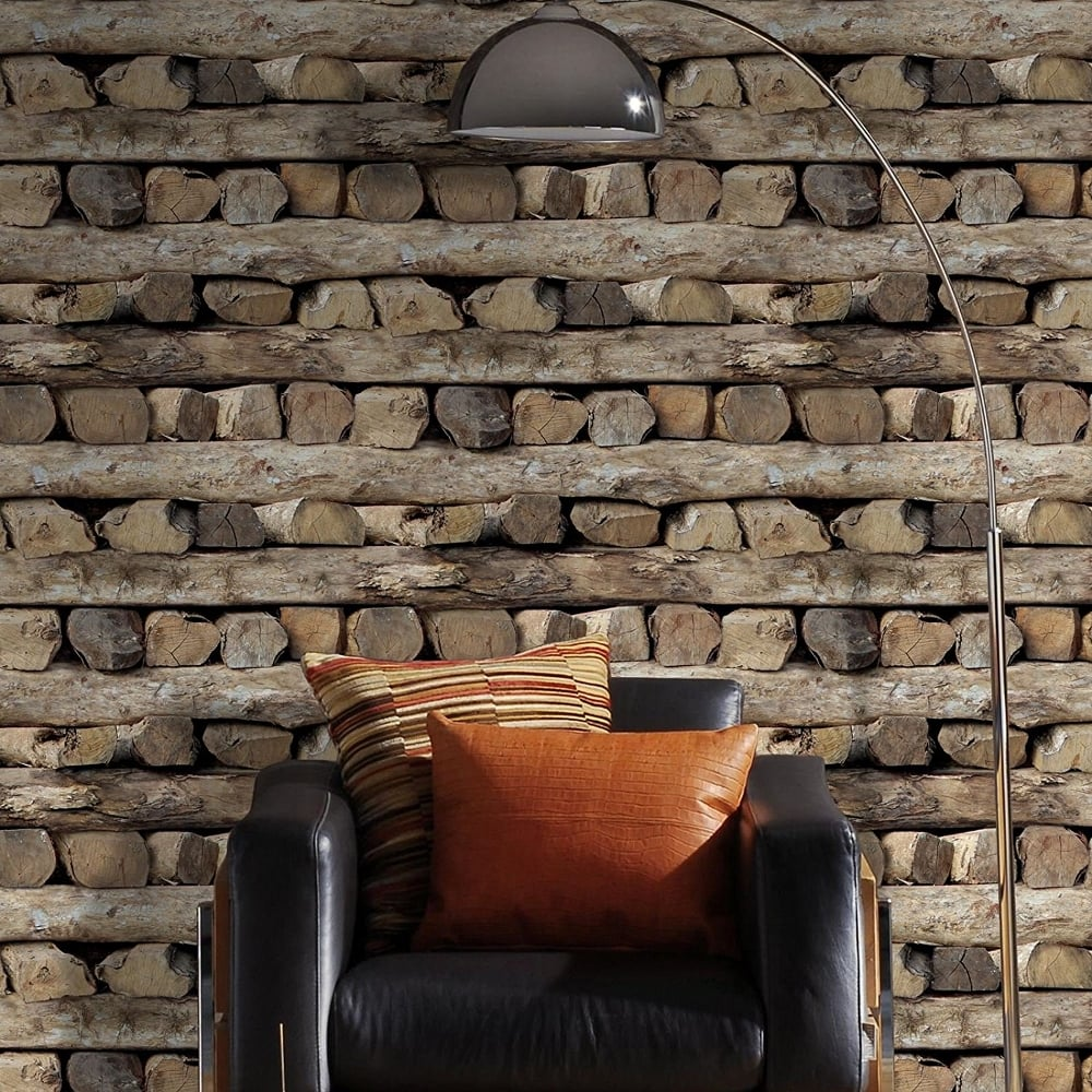 Rasch Log Pattern Wallpaper Rustic Wood Stripe Motif Faux Effect 931808 Brown I Want Wallpaper