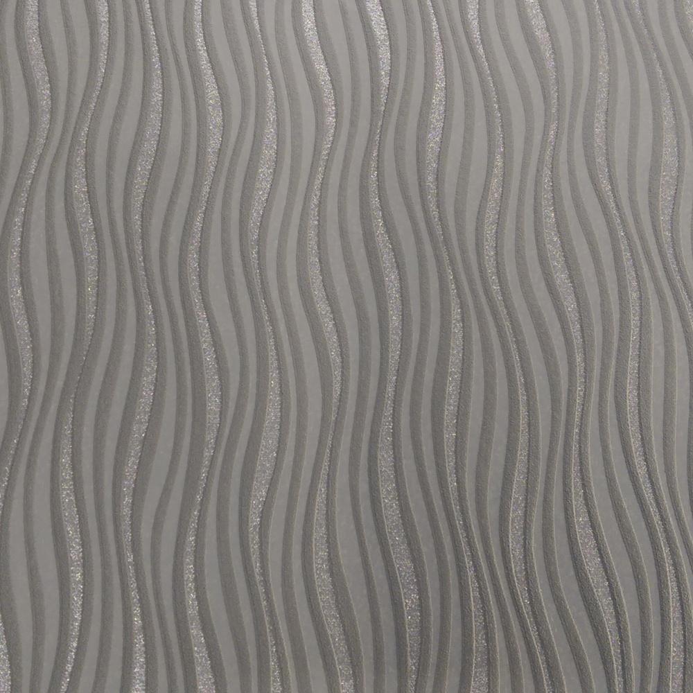 Rasch Luxe Wave Stripe Pattern Silver Glitter Wallpaper 317626