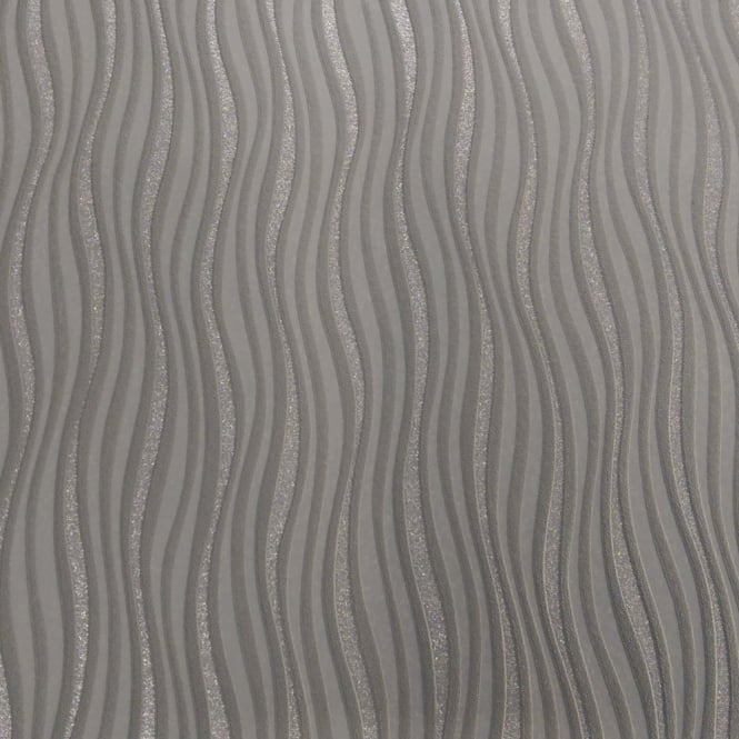 Rasch Luxe Wave Stripe Pattern Metallic Silver Glitter Embossed Wallpaper 317626
