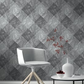 Rasch Marble Tile Pattern Wallpaper Realistic Faux Effect Metallic Embossed 282504
