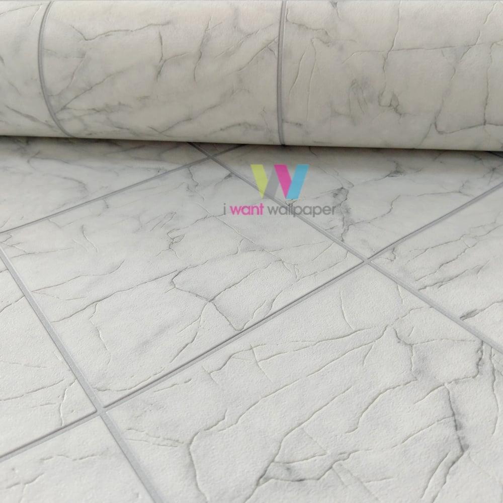 Rasch Marble Tile Pattern Wallpaper Realistic Kitchen Bathroom ...