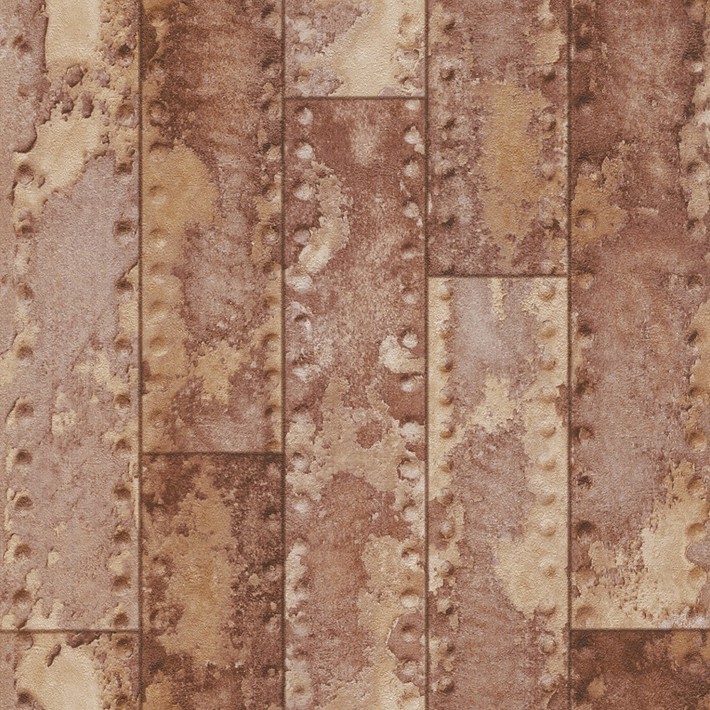 Rasch Metal Iron Beam Bar Wall Faux Effect Rust Embossed