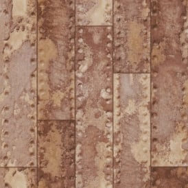 Rasch Metal Iron Beam Bar Wall Faux Effect Rust Embossed Wallpaper 201901