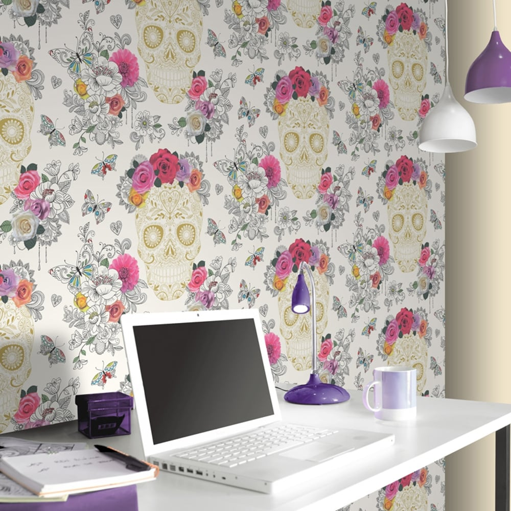 rasch mexican skull pattern wallpaper metallic motif heart rose 278026