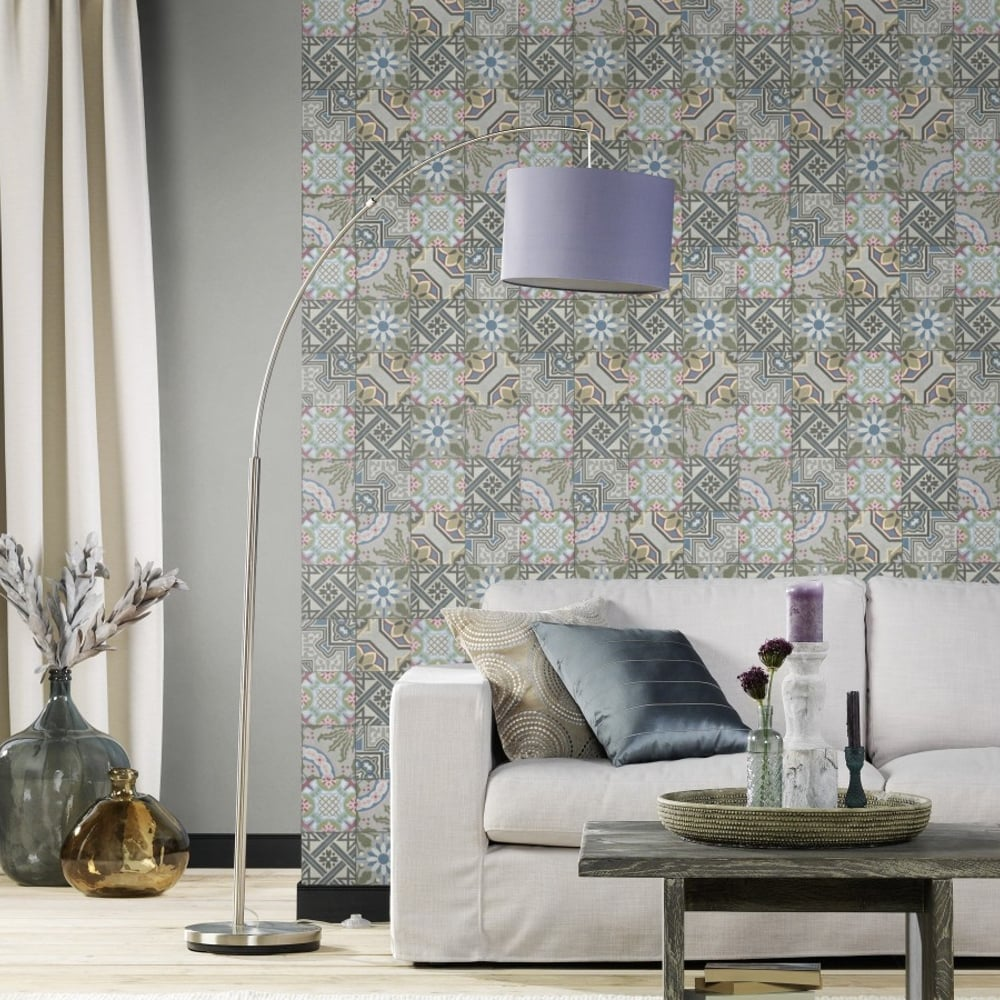 Rasch Moroccan Baroque Tile Pattern Wallpaper Realistic