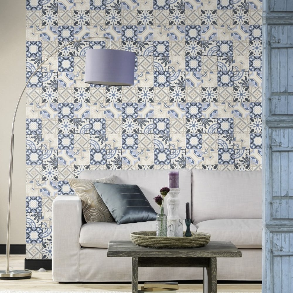 Rasch Moroccan Baroque Tile Pattern Wallpaper Realistic Faux Effect ...
