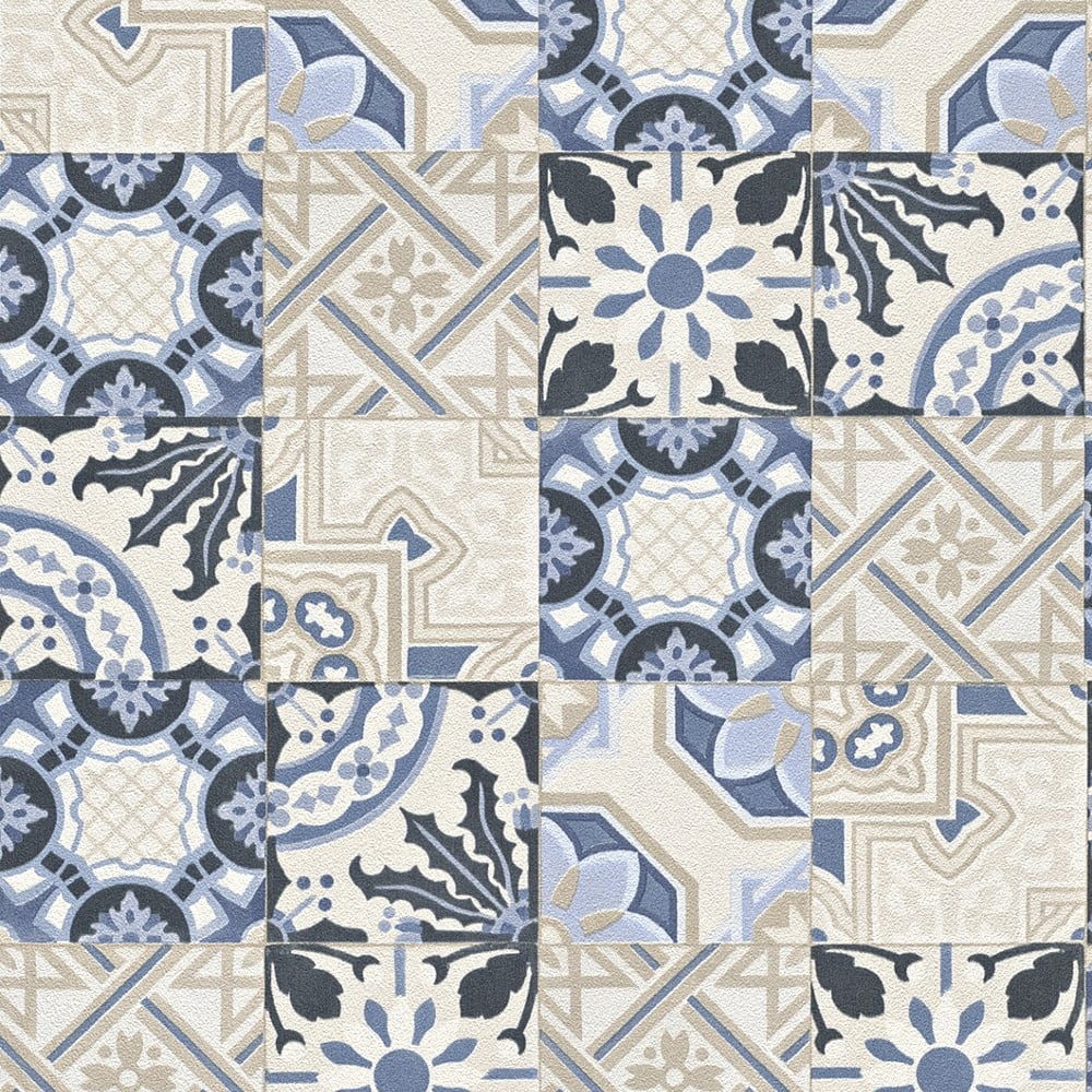 Rasch Moroccan Tile Pattern Wallpaper Realistic Faux Effect 526325