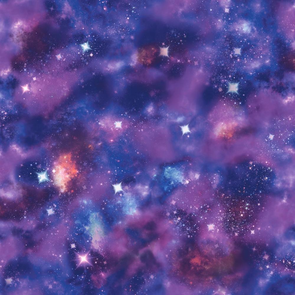 Rasch Nebula Space Pattern Glitter Motif Photographic