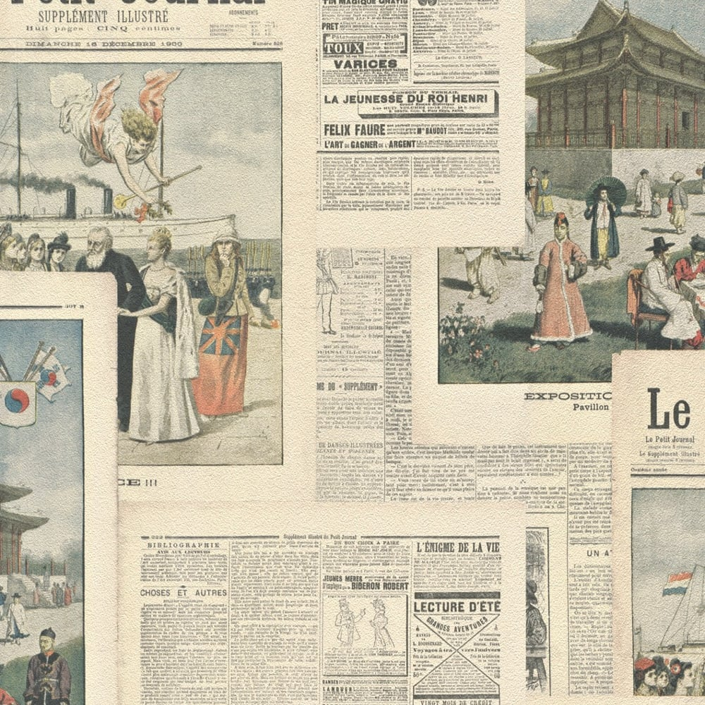 Rasch Newspaper Picture Collage Pattern Vintage French Typography