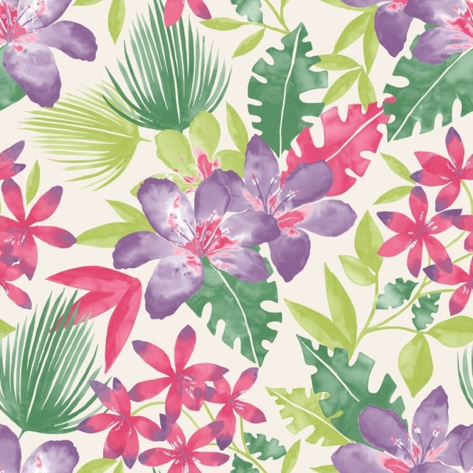 Rasch Paradise Flowers Pattern Tropical Floral Leaf Motif Wallpaper 209105