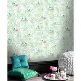 Rasch Paradise Palm Leaf Pattern Tropical Bird Motif Metallic Wallpaper 208801