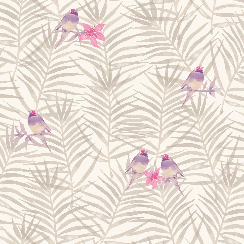 Rasch Paradise Palm Leaf Pattern Tropical Bird Motif Metallic Wallpaper 208818