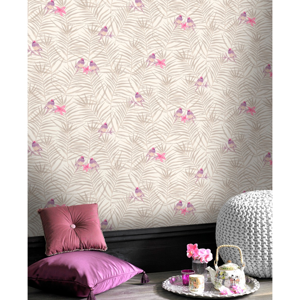 Rasch Paradise Palm Leaf Pattern Bird Motif Metallic Wallpaper 208818